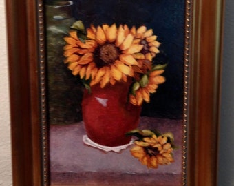 Original oil on canvas, Sunflowers