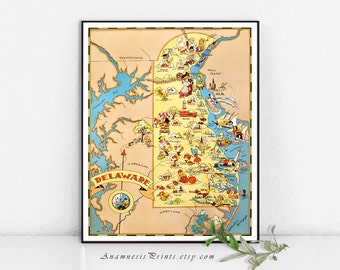 DELAWARE MAP PRINT - vintage picture map wall decor - perfect housewarming or wedding gift - three sizes available - fun vintage home decor