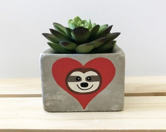 Sloth Planter, Cement Sloth Pot, Gift for Sloth Lover, Sloth Gift, Cute Planter, Sloth Decor, Sloth Home, Succulent Planter, Girlfriend Gift
