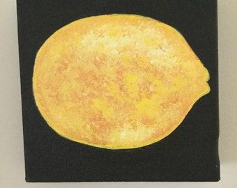Original Acrylic on Canvas Painting 6x6 Lemon