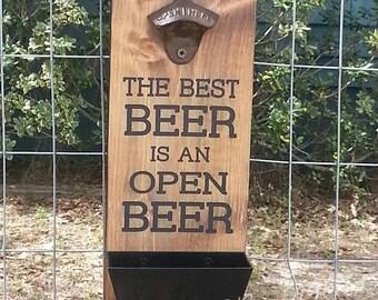 Beer Bottle Opener with Cap Catcher Wall Mount Wood Sign - Man Cave Décor - Beer Art