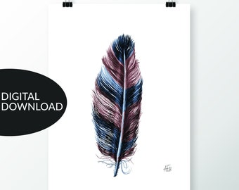 Feather Art, Instant Download, Hand Drawn in Pencil, Colored Digitally, Wall Art Printable, Earth Tones, Indigo Blue, Amber Brown, Interiors