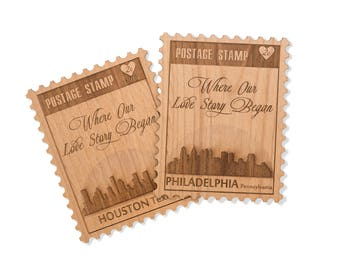 Postage Stamp Wood Card. Anniversary Gift for Couple. Love Card with City Skyline on Mini Wood Card.
