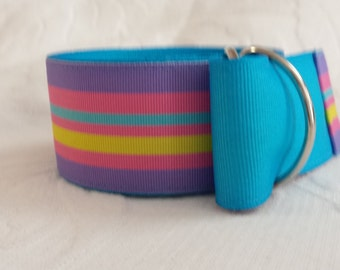 Multicolored stripes with aqua belt.