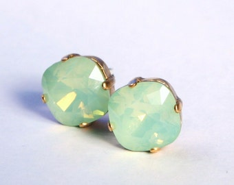 Mint Green Crystal Earrings Sparkling Chrysolite Opal Seafoam Solitaire Swarovski Stud 12mm 10mm Sterling Post & Copper Gold Gifts for Her