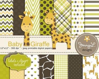 50% OFF Giraffe Baby Shower Digital Papers and Clipart, Baptism, Dedication, Birthday, Baby Giraffe Clipart, Giraffe Print, Animal Print