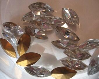 Vintage Swarovski Crystal Rhinestones Navettes15x7mm QTY - 2