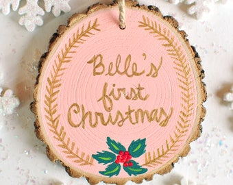 Baby First Christmas, Personalized Baby Ornament, New Mom Gift, Custom Baby Girl Gift, Blush Pink Christmas, Wood Ornament, Newborn Gift