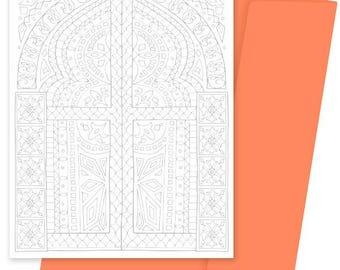 A5 Colouring Card- Moorish Door