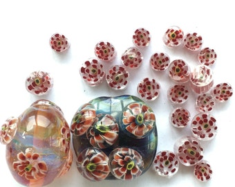 20 red 3D flower murrini chips set / handmade/ lampwork/ 104 COE/ glass / flower
