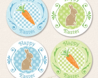 Blue Easter Bunny Carrot Printable Cupcake Toppers Party Favor Tags Sticker Instant Download chocolate rabbit gingham flower pastel