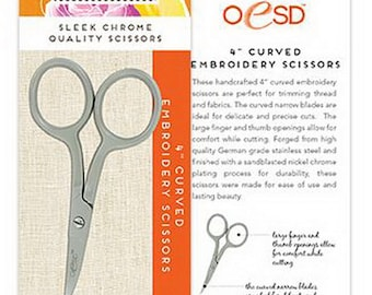 "Curved Embroidery Scissors Large Ring 4""- OESD 709"
