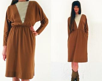 80s sweater dress, jumper dress, brown midi dress, minimalist dress, winter dress, casual, long sleeved, UK 10 - 12 Small - Medium