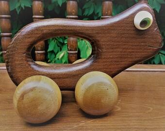 Vintage Wooden Frog Roller Toy