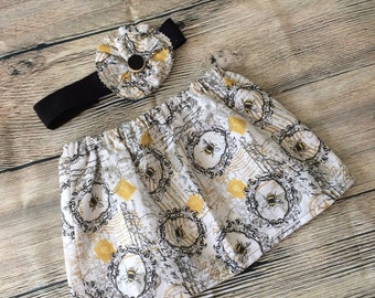 Bee Baby Outfit, Baby Skirt, Baby Girl, Baby Headband, Baby Hair Flower, Toddler Outfit, Baby Clothing