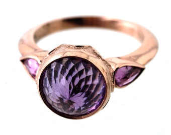 Revered Essence Ring - 9ct rose gold, amethyst, sapphires