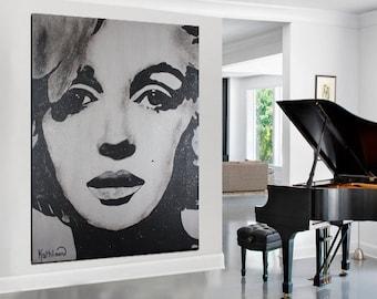 MARILYN MONROE Painting, Monroe Designs, Marilyn Monroe Photo,Monroe ORIGINAL Painting, Ready to Hang, Monroe Modern Art Fine Art Decor Home