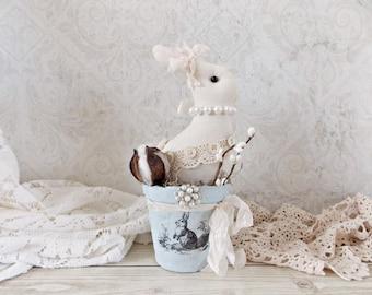 Shabby Easter Bunny Peat Pot Mixed Media Home Decor