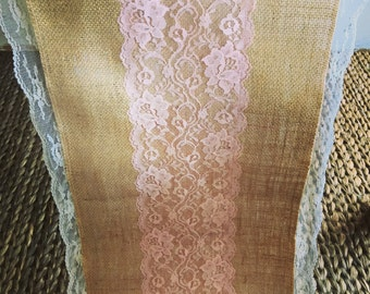 Burlap Runners, Rustic, Blush Pink Lace Table Runners,