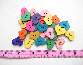 20 pcs of 2 cm rainbow small 2 Hole heart fun colour colourful cute daisy simple Wood Sew knit crochet Button scrapbook craft diy valentine