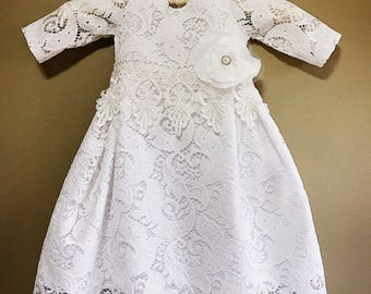 Delicate lace dress, organic cotton baby girl's christening gown, off white church dress, communion girl's dress, infant baptism gown