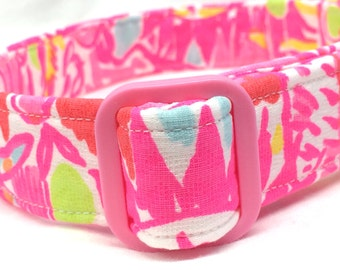 Lilly Pulitzer Fabric Dog Collar Hot Pink Kinis in the Keys Girl