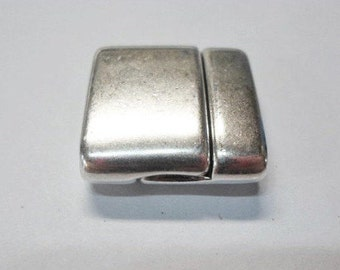20mm Flat Leather Thin Magnetic Clasp, High Quality, Silver,