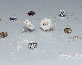 Beaded Post Stud Earrings Tutorial - 10mm Swarovski stones bezel - Glamorous Snowflakes - Digital Download
