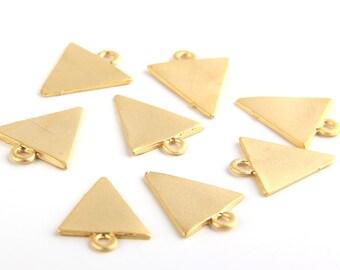 22k Matte Gold Plated Mini Triangle Pendants, 8 pieces // GP-371
