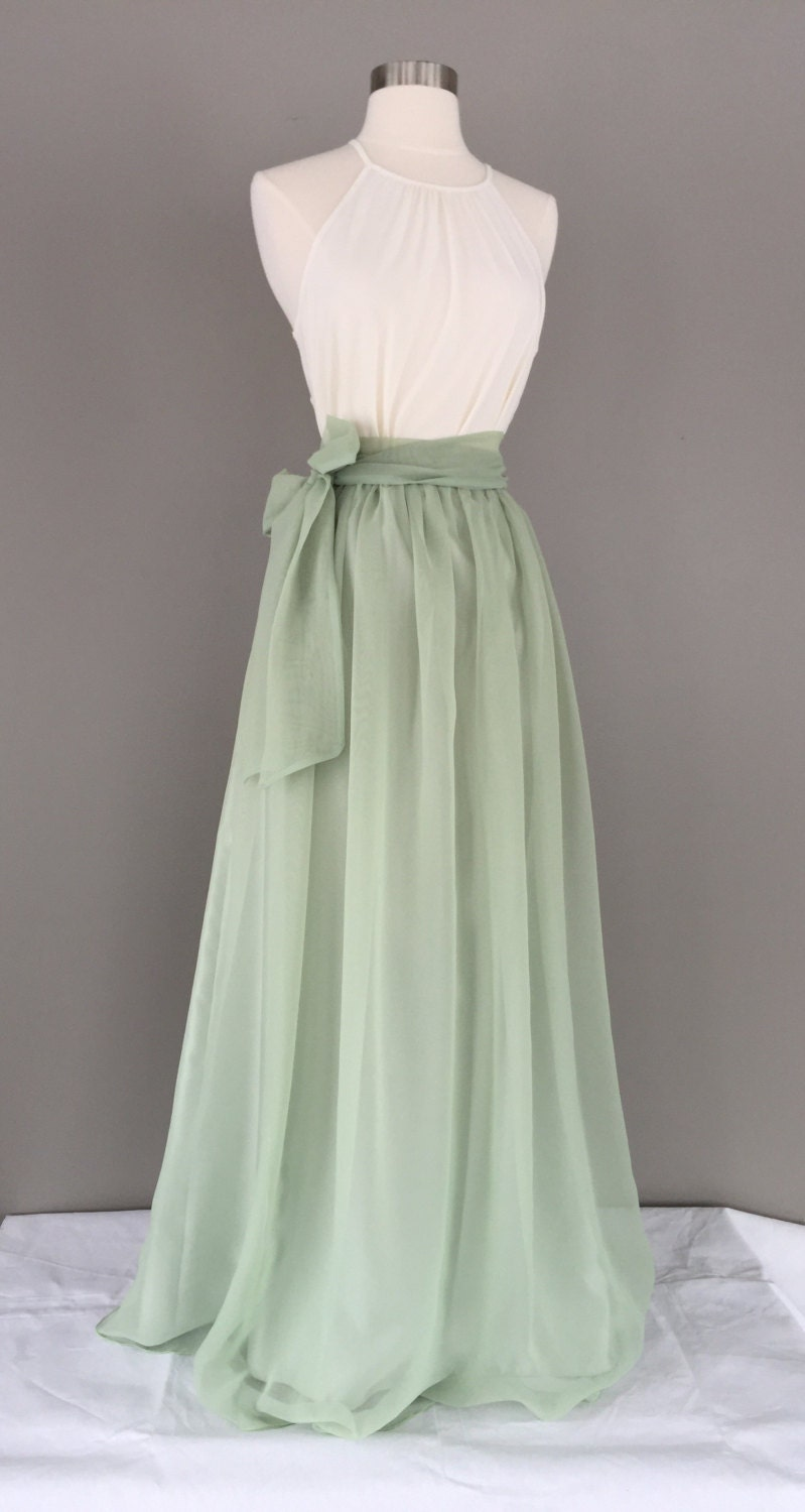 Sage green chiffon skirt any length and color bridesmaid - What color is sage green ...