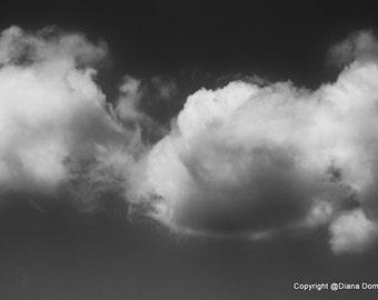 Cloud Photos, B&W Cloud Photography,  Black and White Photography, Modern Photos, Living Romm Decor,