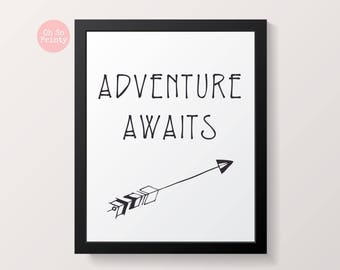 Adventure awaits nursery kids print