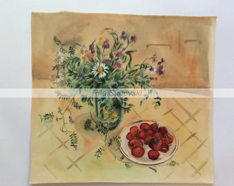 Original Nature Morte with Strawberry painting, watercolor, paper