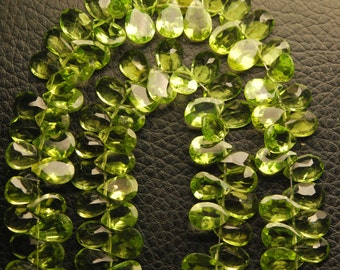 25 Pieces,AAA Quality,Superb-Finest Quality Peridot Faceted Cut Stone Pear Shape,7mm size