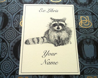 Bookplates Racoon 15 Personalized Booklabels Ex Libris