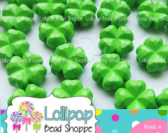 LIME GREEN Four Leaf Clover Beads 11mm Acrylic Shamrock Beads St Patrick's Day Beads 25-ct Green Shamrock Beads Plastic Beads Chunky Beads