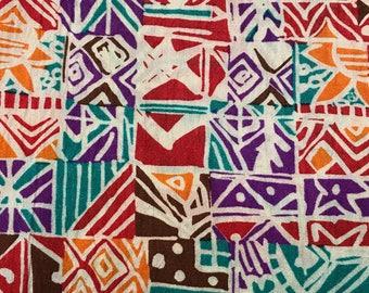 4 Yards of Vintage Teal, Red, Brown and Orange Abstract Print Georgette Fabric