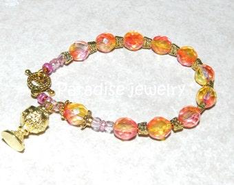 Catholic Jewelry Rosary Bracelet First Holy Communion IHS Communion Chalice Charm Glass Bead Bracelet Religious Gift For Her Catholic Gift