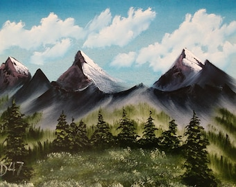 Original oil painting, landscape oil painting, oil painting mountains, oil painting Sierra, oil painting snow capped mountains, Montana