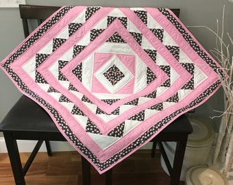 Adorable Baby Quilt in Pink and Black