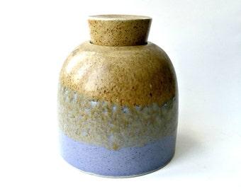 Vintage Signed Minimalist Stoneware Vessel with Stopper. Ceramic Jar with Blue Glazed Base.