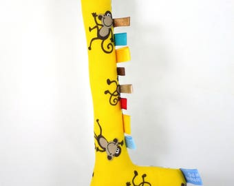 Handmade Taggy Giraffe Tactile Baby Toy - yellow cotton with playful brown monkeys and retro blue print.