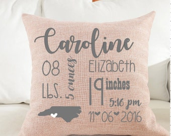 Baby Girl Personalized Birth Announcement Pillow- New Baby, Baby Gift, Baby Girl, All About Me Pillow, Announcement Pillow