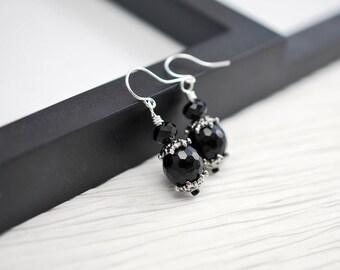 Black and Silver Earrings, Black Earrings, Gothic Earrings, Black Drop Earrings, Small Drop Earrings, Gothic Jewelry, Silver Earrings