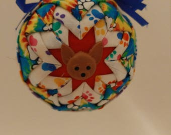Tiedye folded fabric handmade ornament with brown  dog Chihuahua like decoration