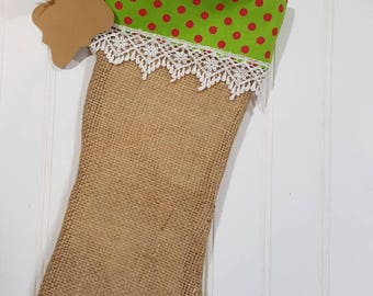 Christmas Burlap Stocking Green With Red Polka Dots Cuff And White Trim Christmas Decoration