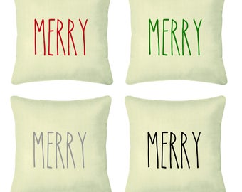 Merry Cotton Canvas Throw Pillow // Christmas Pillow // Christmas Decor // Long Letters