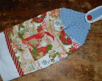 Hanging Kitchen Towel Crochet Christmas