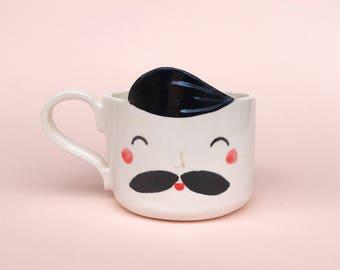 Handmade white ceramic mug-Susi ceramics