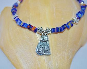 Ankle Bracelet Cat, Blue Glass Chips & Cat Charm Anklet, Cat Anklet, Blue Cat Anklet, Cat and Flower Anklet, Cat Ankle Bracelet
